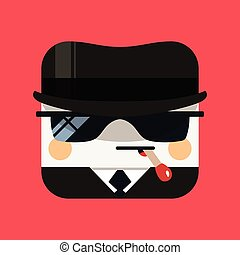 Spy avatar illustration. Trendy emissary squared icon with...
