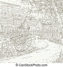 farmhouse in the woods, farmhouse scenery with cart