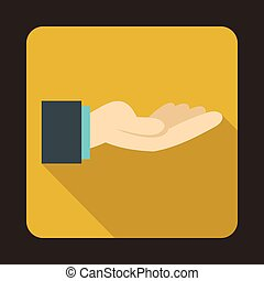Outstretched hand gesture icon, flat style - Outstretched...