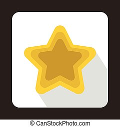 Golden shiny star icon, flat style