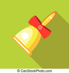 Gold bell with red bow icon, flat style
