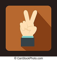 Hand with victory sign icon, flat style