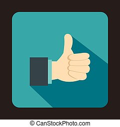 Thumb up gesture icon in flat style on a baby blue...