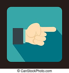 Pointing hand gesture icon, flat style