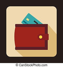 Brown wallet with credit card and cash icon