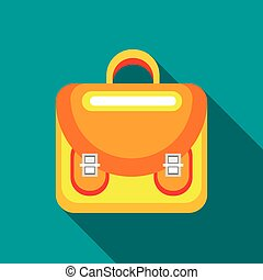 Yellow backpack icon, flat style - Yellow backpack icon in...