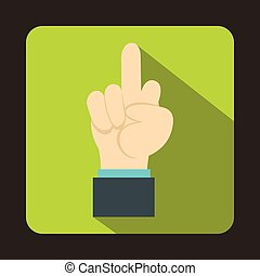 Middle finger hand sign icon, flat style - Middle finger...