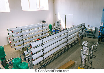 installation of industrial membrane devices water treatment...