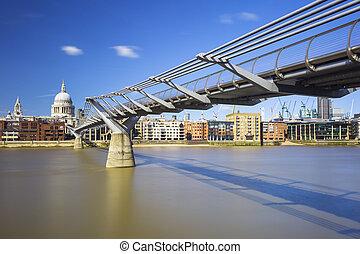Millennium Bridge with St Pauls across River Thames