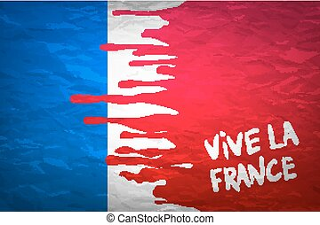 flag France in concept the blood flowing on the French flag...