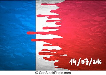 flag France in concept. the blood flowing on the French...