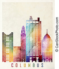 Columbus landmarks watercolor poster