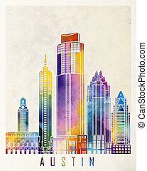Austin landmarks watercolor poster