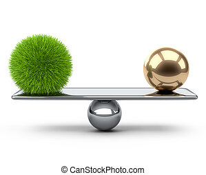 Balance between large gold and grass sphere. Eco concept.