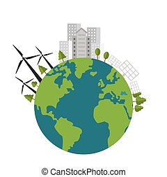 earth globe with buildings and wind turbines icon