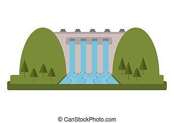 hydroelectric plant icon - flat design hydroelectric plant...