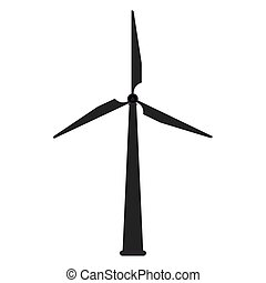 wind turbine icon - flat design wind turbine icon vector...