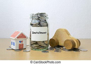 Money saving for installment in the glass bottle