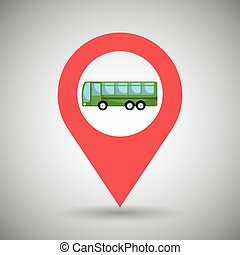 red signal of green bus isolated icon design