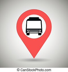 red signal of bus isolated icon design