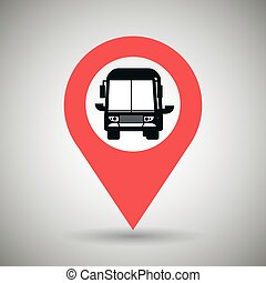 red signal of black bus isolated icon design