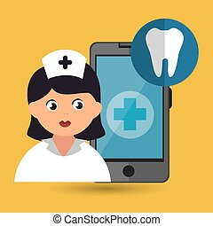 nurse and odontology isolated icon design, vector...