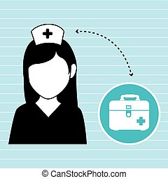 nurse and first aid kit isolated icon design