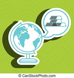 world map with bar gold isolated icon design