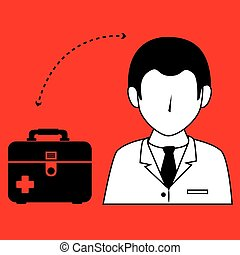 doctor wtih first aid kit isolated icon design