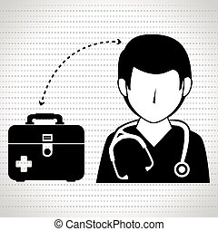 nurse man and first aid kit isolated icon design