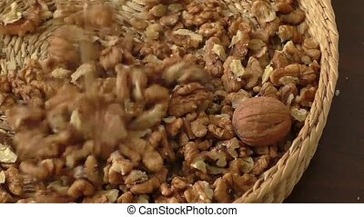 Walnut kernels in basket
