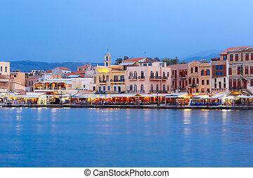 Night Venetian quay, Chania, Crete - Venetian quay of Chania...