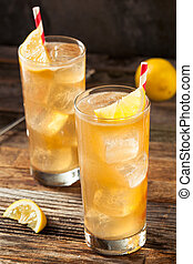 Boozy Long Island Iced Tea with a Lemon Garnish