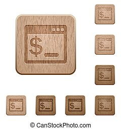 OS command terminal wooden buttons - Set of carved wooden OS...