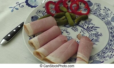 Plate of pork sliced ham
