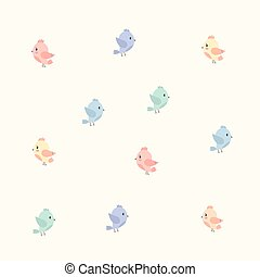 background with colourful birds fly - vector illustration