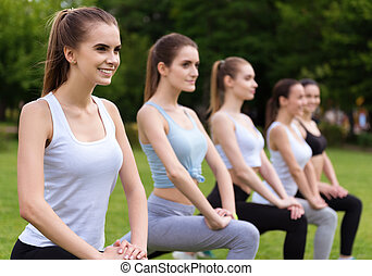 Positive women doing sport exercises - Express your...