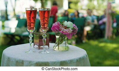 Wedding Ceremony Table with champagne and flowers - Wedding...