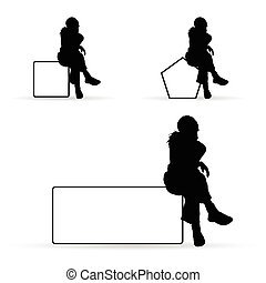 girl silhouette siting on white banner illustration