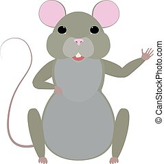 Cute cartoon mouse vector illustration. - Cute cartoon mouse...