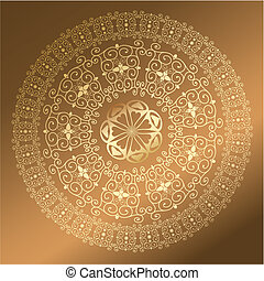 Baroque pattern round gold