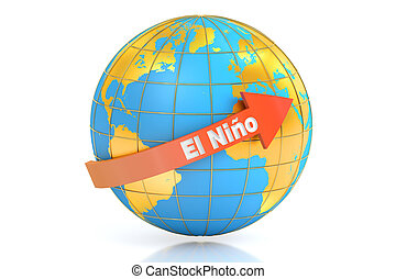 El nino concept, 3D rendering isolated on white background