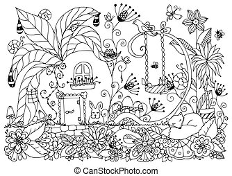 Vector illustration Zen Tangle house radishes. Doodle...