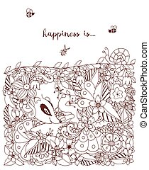 Vector illustration zentangl card with flowers. Doodle flowers, spring, jewelry, wedding. Coloring book anti stress for adults. Brown and white.