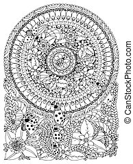 Vector illustration Zen Tangle ladybug in a flower. Manali,...