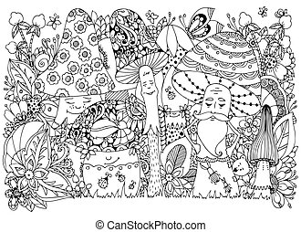 Vector illustration Zen Tangle of mushrooms in the forest....