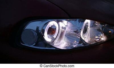 Headlights Car lights - Headlights, Car lights on black car