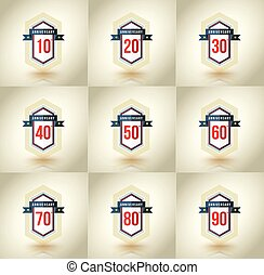Anniversary icon set. 10,20,30,40,50,60,70,80,90 years....