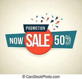 Promotion Now sale 50 percent off Vector illustration