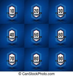 Anniversary badge set. 10,20,30,40,50,60,70,80,90 years....